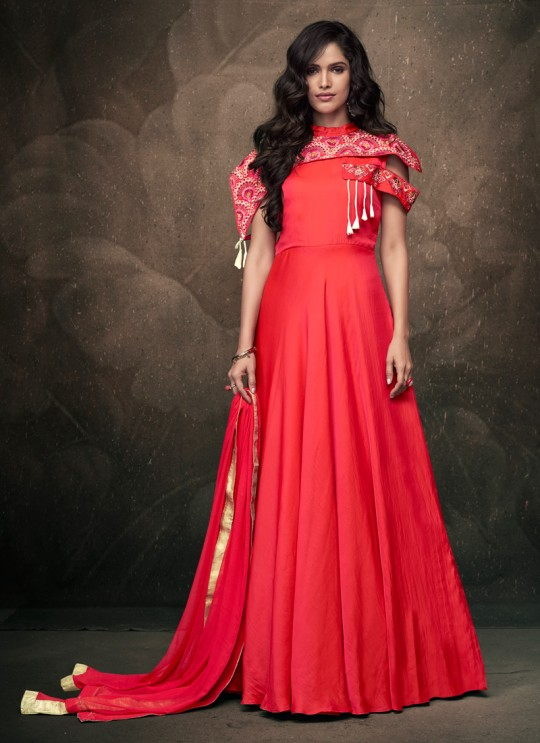 Pink Tapeta Silk Evening Ready Made Gown 183 By Vardan