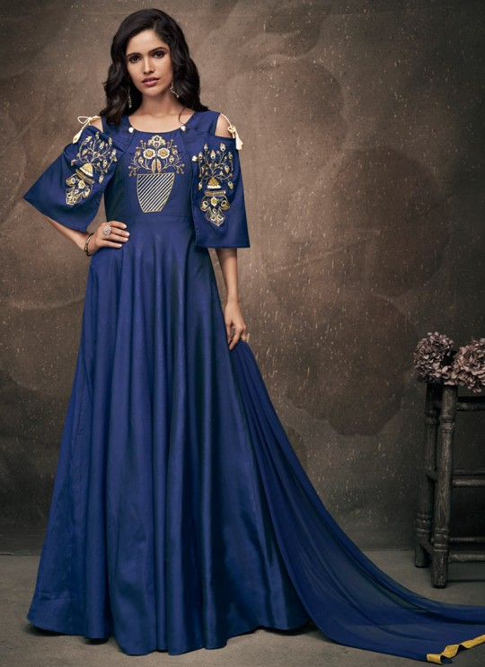 Blue Tapeta Silk Evening Ready Made Gown 185 By Vardan