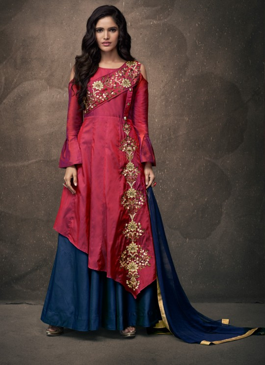 Pink Tapeta Silk Party Wear Ready Made Skirt Kameez 187 By Vardan