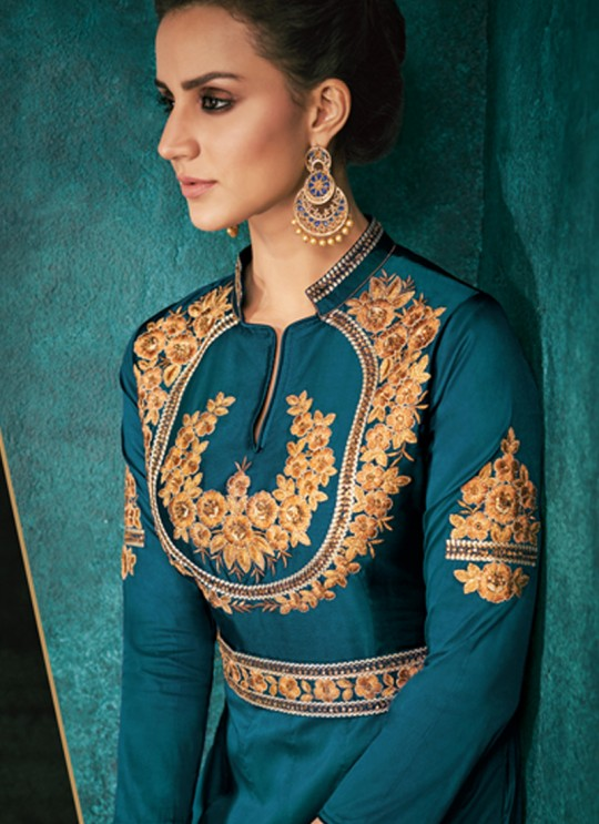 Rozi Platinum Vol 1 By Vardan 51012H Teal Blue Designer Gown