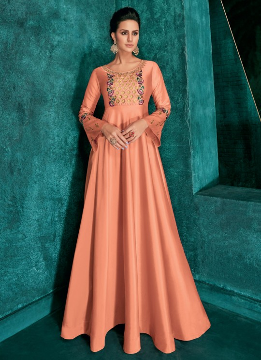 Triva Silk Peach Ceremony Designer Gown Rozi Vol 1 By Vardan 51014