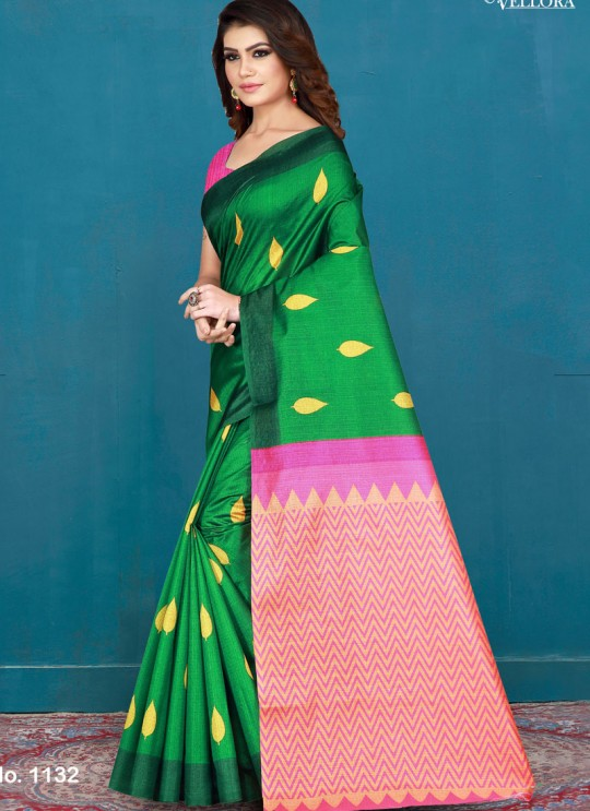 Green Cotton Printed Festival Wear Designer Saree Vellora Saree Vol 2 1132 By Vellora