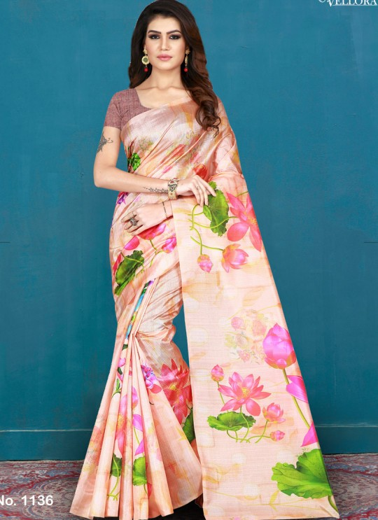 Peach Khadi Silk Printed Festival Wear Designer Saree Vellora Saree Vol 2 1136 By Vellora
