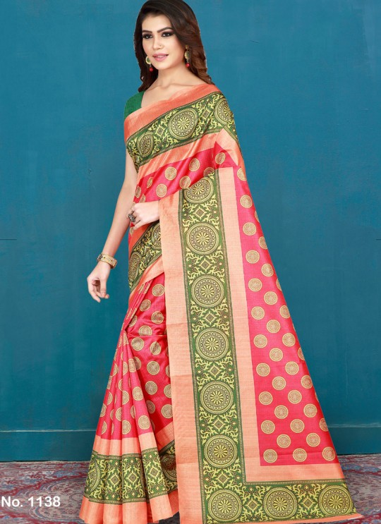 Red Cotton Printed Festival Wear Designer Saree Vellora Saree Vol 2 1138 By Vellora
