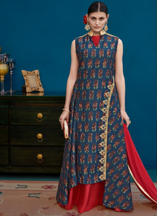 Blue Silk Party Wear Indo Western Suit Alicia 10121 By Vipul Fashions