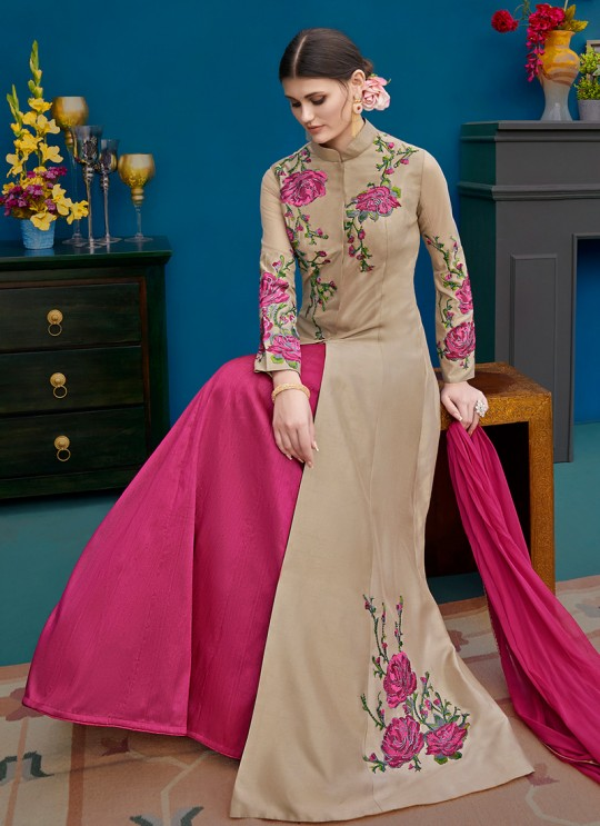 Beige Silk Party Wear Indo Western Suit Alicia 10123 By Vipul Fashions