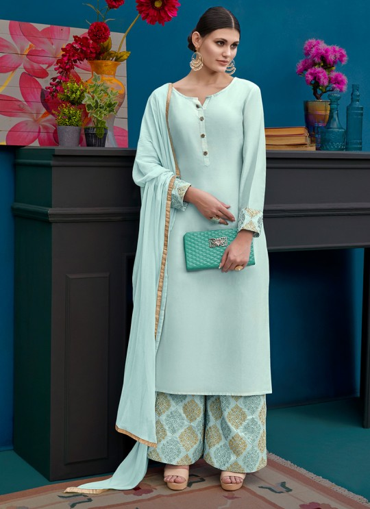 Ice BLue Silk Party Wear Palazzo Suit Alicia 10124 By Vipul Fashions