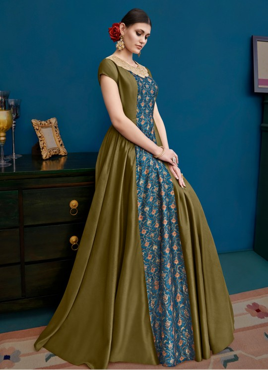 Multicolor Blue Silk Party Wear Gown Style Anarkali Alicia 10125 By Vipul Fashions