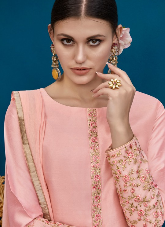 Pink Silk Party Wear Palazzo Suit Alicia 10128 By Vipul Fashions