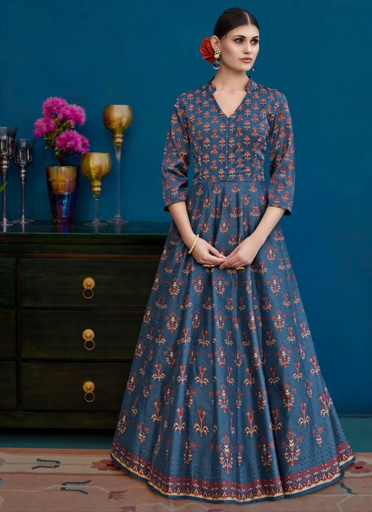 Blue Silk Party Wear Gown Style Anarkali Alicia 10129 By Vipul Fashions