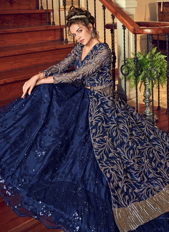 Navy Blue Net Floor Length Anarkali Julia 4551 By Vipul Fashions SC/016778