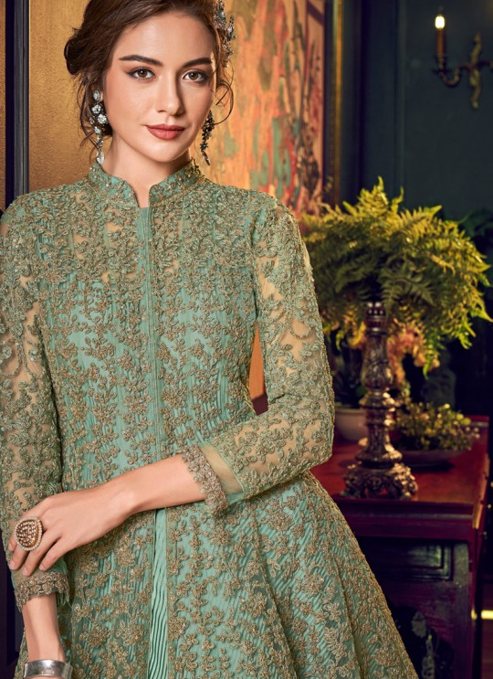 Green Net Floor Length Anarkali Julia 4554 By Vipul Fashions SC/016781