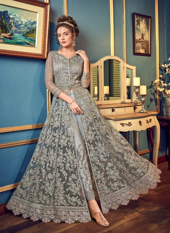 Grey Net Floor Length Anarkali Julia 4557 By Vipul Fashions SC/016784