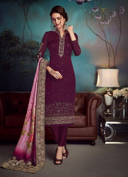 Purple Satin Georgette Party Wear Straight Cut Suit Sawrovski  4540 By Vipul Fashions
