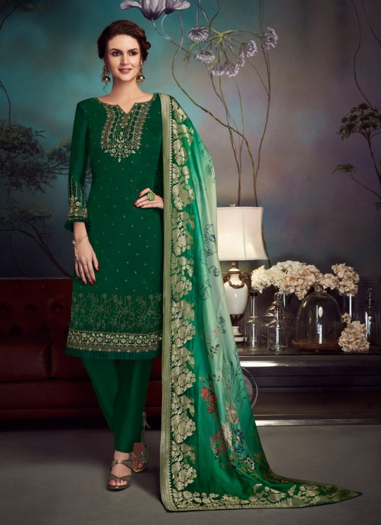 Green Satin Georgette Party Wear Straight Cut Suit Sawrovski  4541 By Vipul Fashions