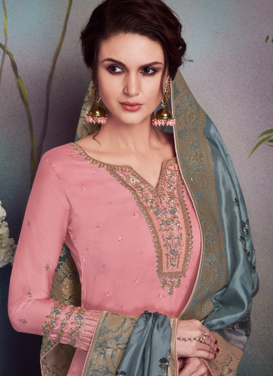Pink Satin Georgette Party Wear Straight Cut Suit Sawrovski  4542 By Vipul Fashions