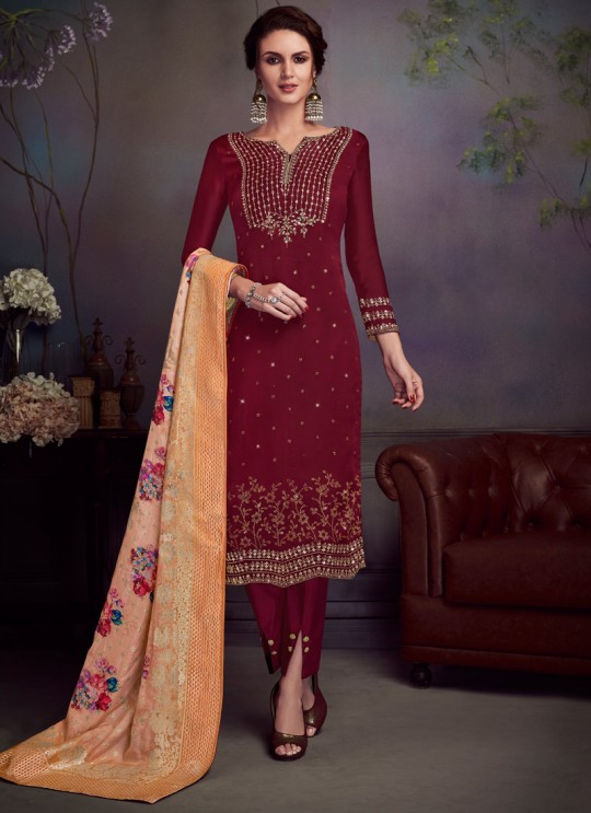 Wine Satin Georgette Party Wear Straight Cut Suit Sawrovski  4546 By Vipul Fashions