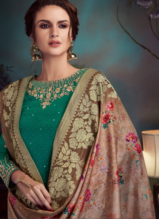 Green Satin Georgette Party Wear Straight Cut Suit Sawrovski  4547 By Vipul Fashions