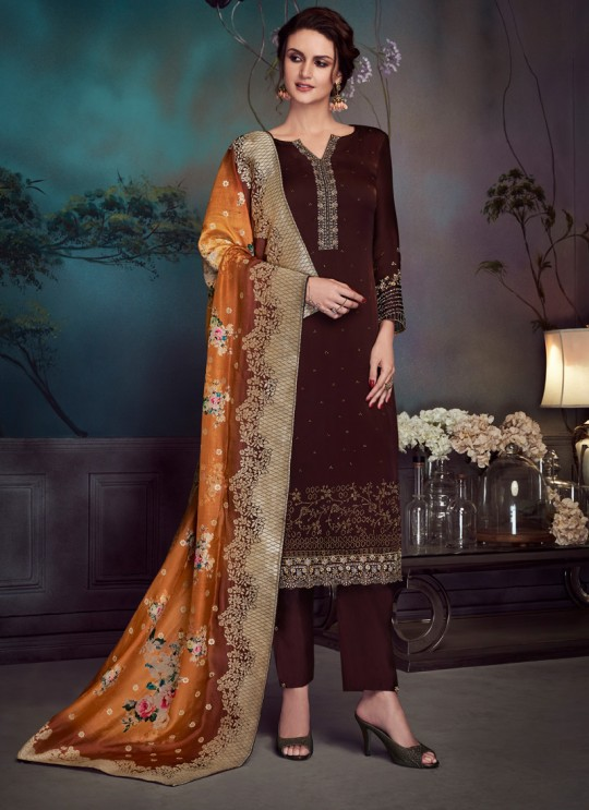Brown Satin Georgette Party Wear Straight Cut Suit Sawrovski  4548 By Vipul Fashions