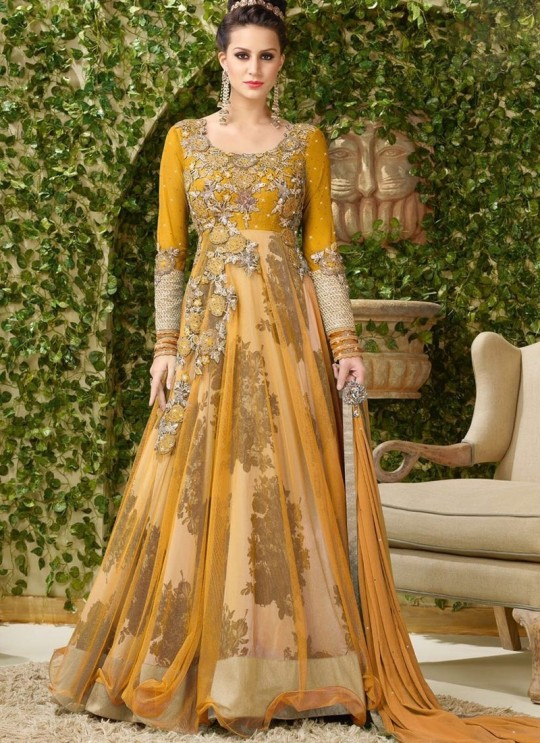 Yellow Net Gown Style Dcat-40 4002B By Vipul Fashions SC/002762