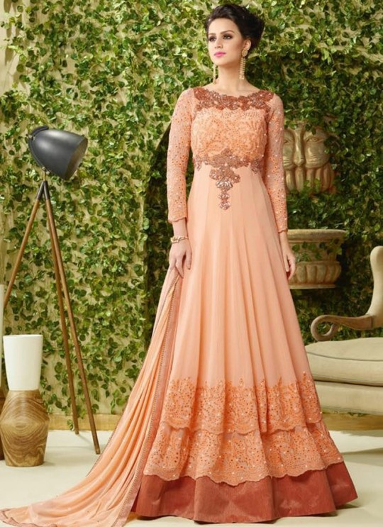 Peach Georgette Gown Style Dcat-40 4007 By Vipul Fashions SC/002000