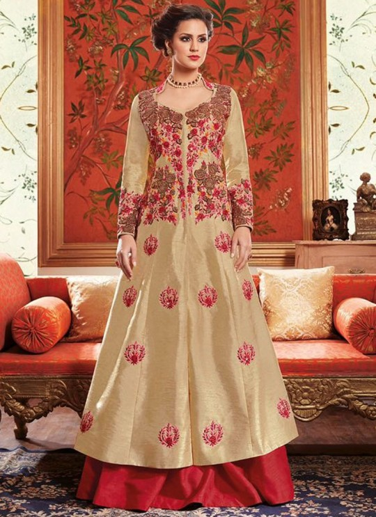 Beige Tussar Silk Indo Western Suits Dcat-41 4105 By Vipul Fashions Sc/003313