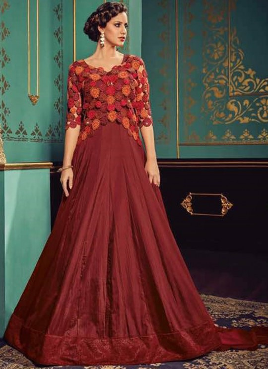 Maroon Silk Gown Style Dcat-42 4204 By Vipul Fashions SC/005032