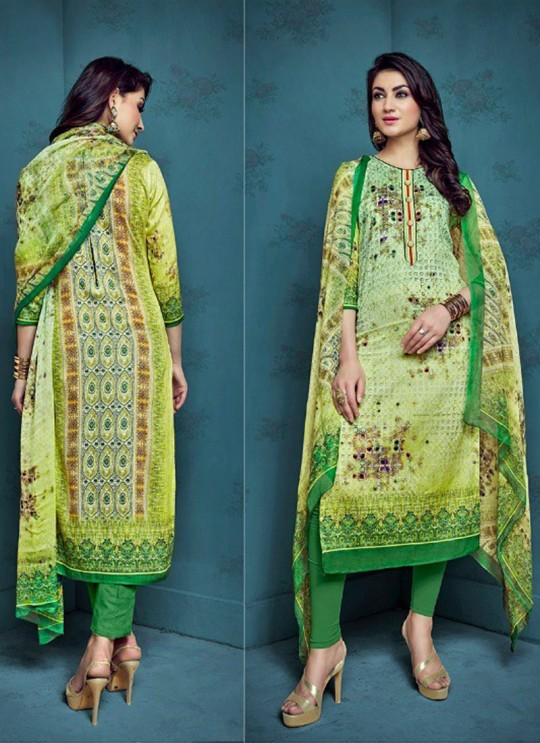 Green Cotton Satin Festival Straight Cut Suit Shanaya 4004 By Zaira SC/010681