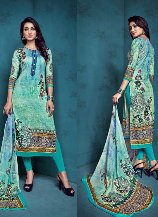 Turquoise Cotton Satin Festival Straight Cut Suit Shanaya 4005 By Zaira SC/010682