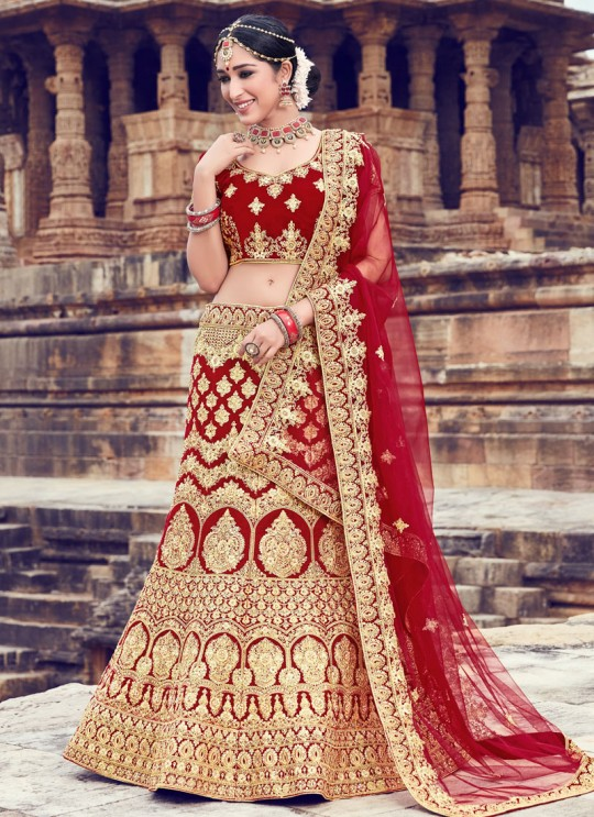 Red Velvet A Line Bridal Lehenga Choli Zikkara Vol 9 10001 By Zikkra