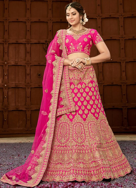 Hot Pink Pure Silk A-Line Lehenga For Bride Zikkara Vol 7 9004 By Zikkra