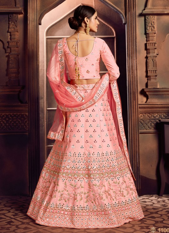 Pink Silk Embroidered A-Line Lehenga For Indian Brides Zikkra Vol 11 By Zikkra 11001