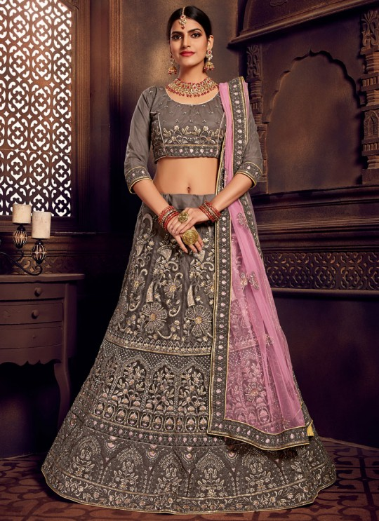Grey Net Embroidered A-Line Lehenga For Indian Brides Zikkra Vol 11 By Zikkra 11002