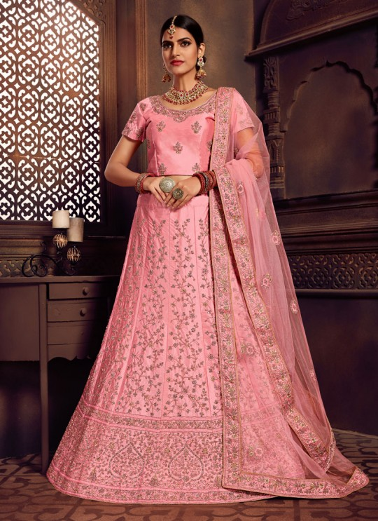 Pink Silk Embroidered A-Line Lehenga For Indian Brides Zikkra Vol 11 By Zikkra 11003