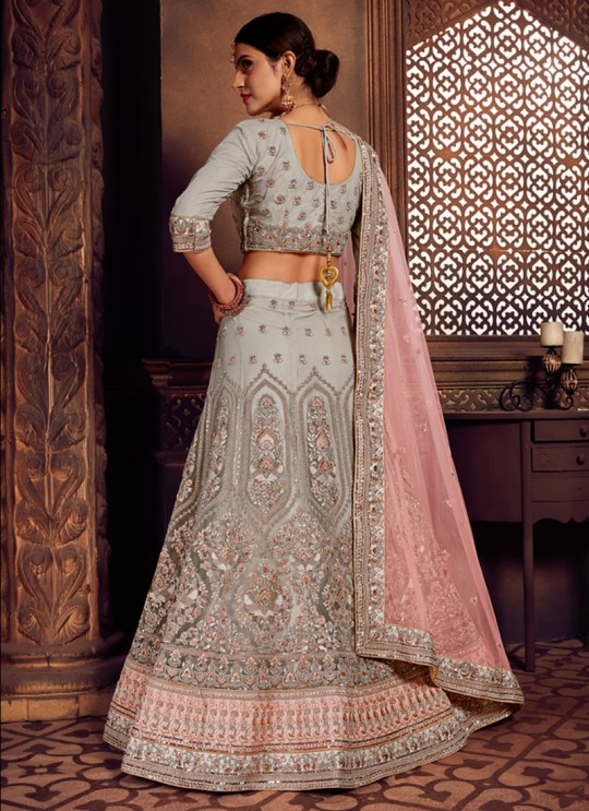 Grey Net Embroidered A-Line Lehenga For Indian Brides Zikkra Vol 11 By Zikkra 11006