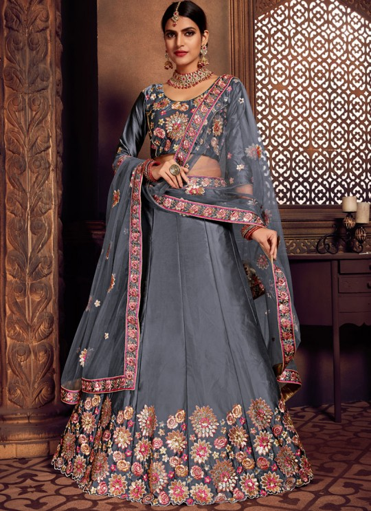 Grey Silk Embroidered A-Line Lehenga For Indian Brides Zikkra Vol 11 By Zikkra 11008