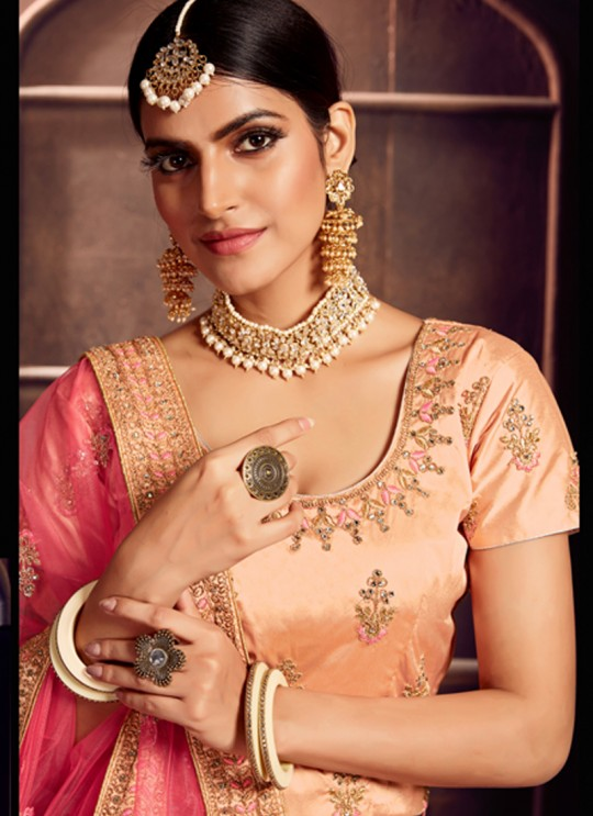 Peach Silk Embroidered A-Line Lehenga For Indian Brides Zikkra Vol 11 By Zikkra 11009