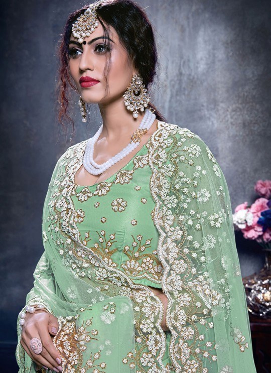 Zikkra Vol 14 By Kesari Exports 14002 Green Net A-Line Bridal Lehenga Choli
