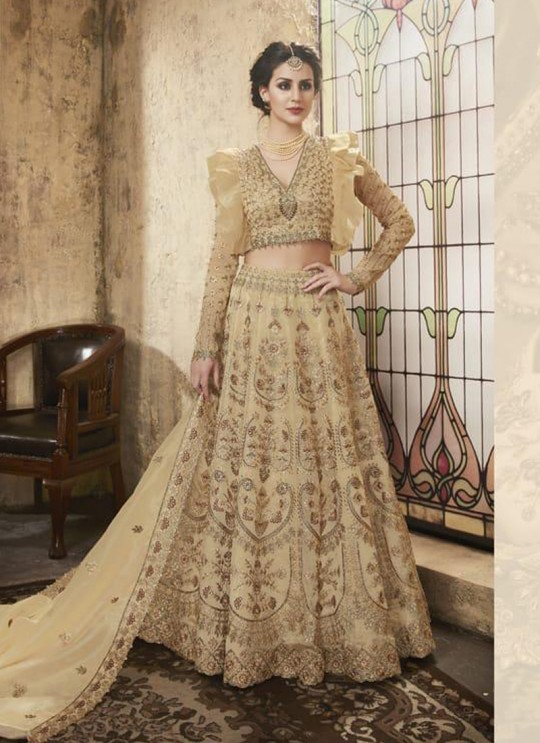 Beige Net Wedding Wear A-Line Lehenga Choli Festive 28001 By Zoya SC/013664