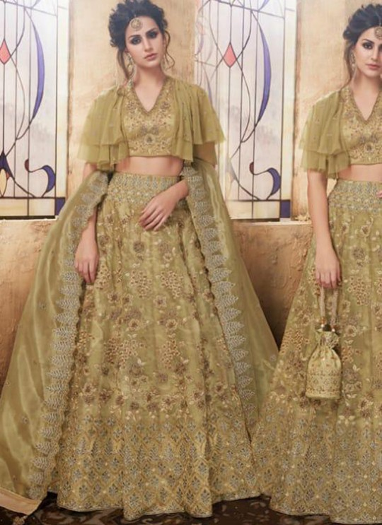 Olive Net Wedding Wear A-Line Ghagra Choli Festive 28004 set By Zoya SC/013913