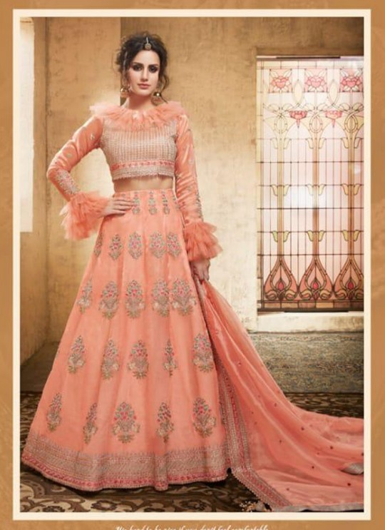 Peach Net Wedding Wear A-Line Lehenga Festive 28005 set By Zoya SC/013913