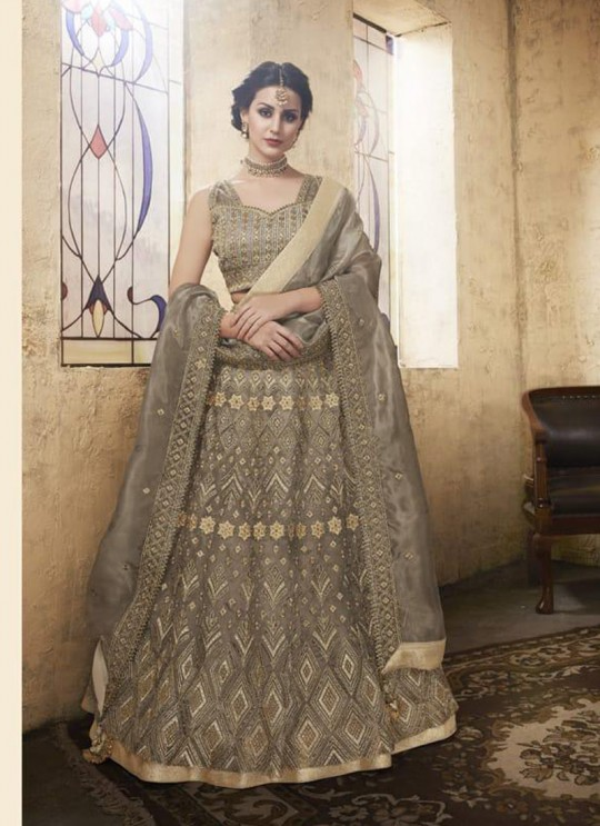 Grey Net Wedding Wear A-Line Lengha Choli Festive 28006 By Zoya SC/013669
