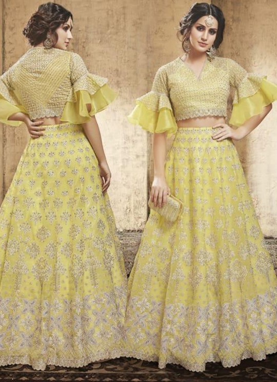 Yellow Net Wedding Wear A-Line Lehenga Festive 28007 By Zoya SC/013700