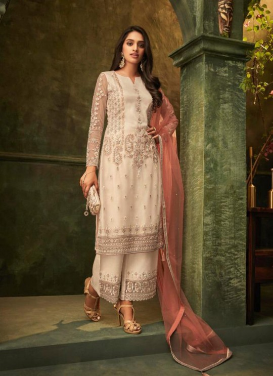 Off White Net Party Wear Pant Style Suit Emotions 32003 By Zoya