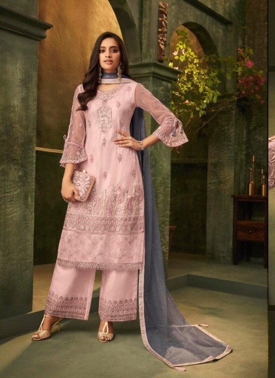 Pink Net Party Wear Pant Style Suit Emotions 32005 By Zoya