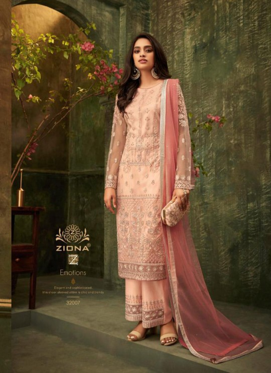 Pink Net Party Wear Pant Style Suit Emotions 32007 By Zoya