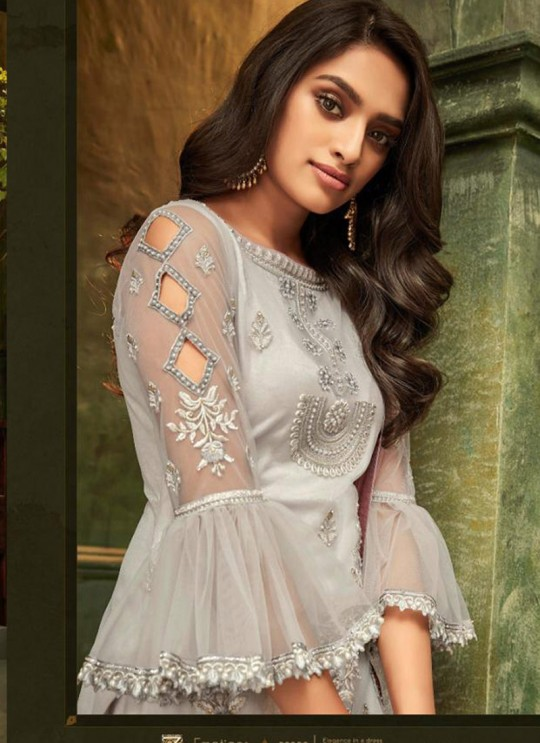 Light Grey Net Party Wear Pant Style Suit Emotions 32008 By Zoya