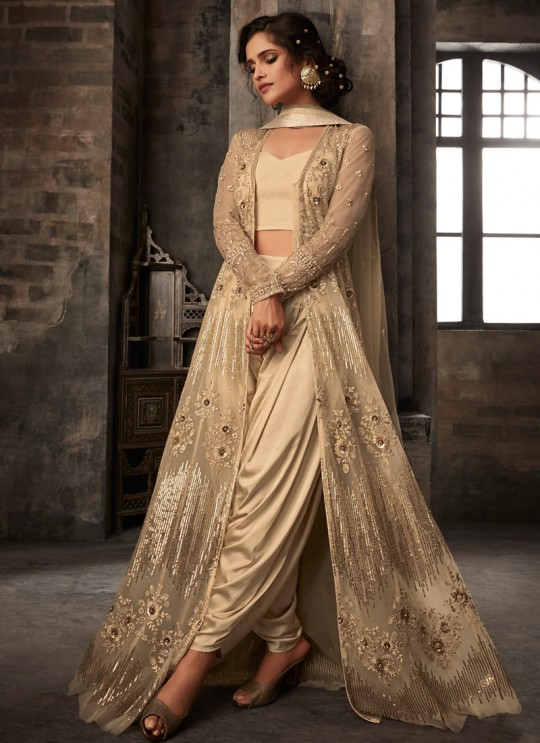 Beige Net Bridal Dhoti Kameez Passion 33003 Set By Zoya