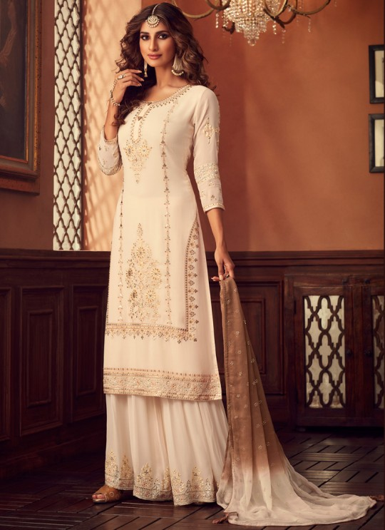 Cream Palazzo Suit For Bridesmaids Traditional 34002 By Zoya