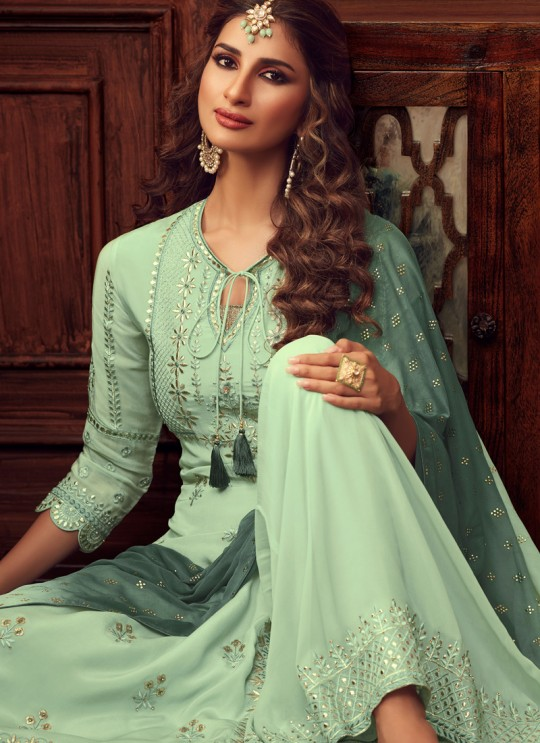 Green Palazzo Suit For Bridesmaids Traditional 34005 By Zoya